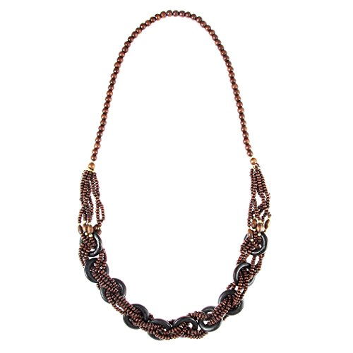 - Rosemarie Collections Women's Multi Strand Braided Wooden Bead Statement Necklace