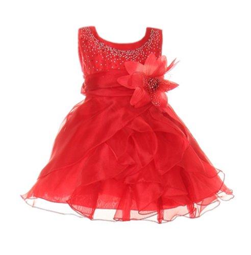 - Cinderella Couture Baby Girls Cascading Organza Dress Red Sm 6/9M (B1101)