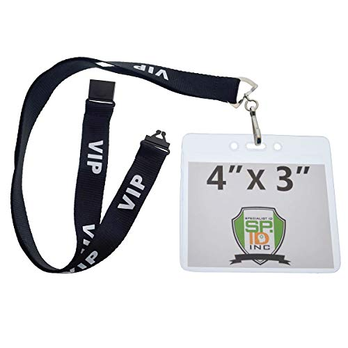 10 Pack - Premium 4X3 Trade Show Credential Badge Holders (4 X 3 Inch Horizontal Insert) with Lanyards by Specialist ID (Black VIP) -