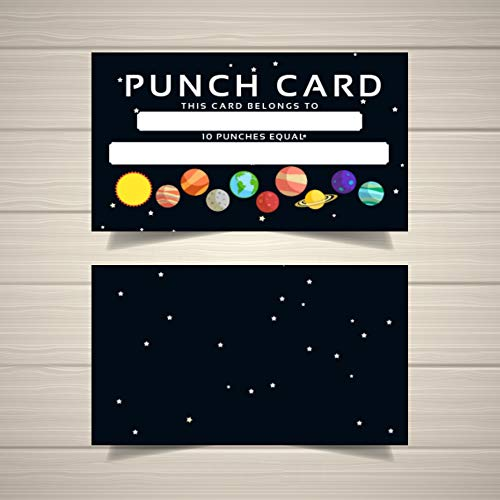 - Punch Card - Incentive Loyalty Reward Cards - Business Card Size 3.5 x 2 Inches - Classroom Household Chores Behavior Incentive (50pk, Galaxy) (Galaxy, 50pk)