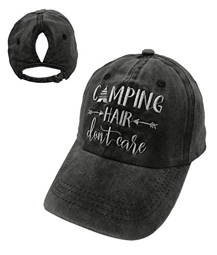 omized Unisex Camping Hair Don't Care Vintage Adjustable Baseball Cap Denim Dad Hat (Embroidered Ponytail Black, One Size) ()