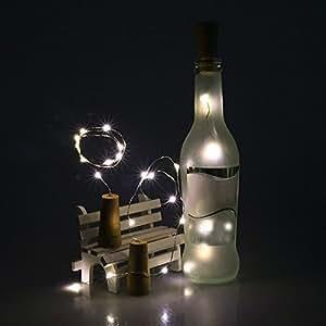 allywit para botella de vino de corcho con forma de cadena luz 20LED guirnalda de luz nocturna lámpara de Navidad
