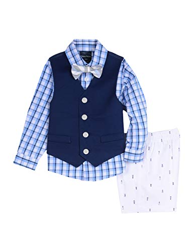 - Nautica Baby Boys 4-Piece Formal Dresswear Vest Set with Bow Tie, Lighthouse Blue, 12 Months
