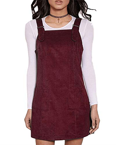 FLORHO Women Casual Spaghetti Strap Overalls Loose Jumper Dress with Side Pocket Wine Red 3XL