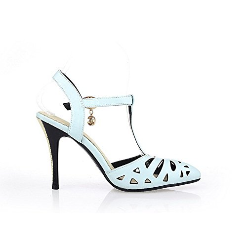 AllhqFashion Women's Buckle Pointed Closed Toe High-Heels PU Solid Sandals Blue spn3Hw