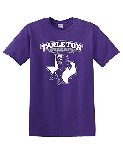 (Purple Tarleton Texans Full Logo Adult T-Shirt (X-Large))