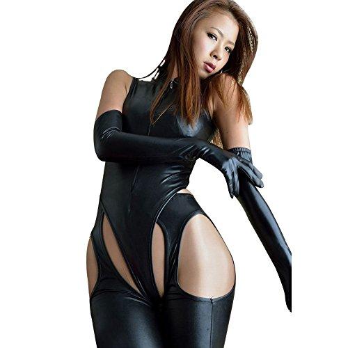 YiZYiF Sexy Catwoman Faux Leather Jumpsuit 4 Pieces Set Black Romper Dance Suit Large -