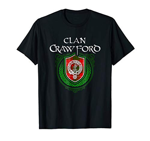 Crawford Surname Scottish Clan Tartan Crest Badge T-shirt ()