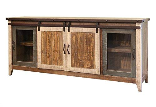 BurlesonHomeFurnishings Anton Distressed White Sliding Barn Door Farmhouse 60 Inch Tv Stand with Brown Wood Top and Hand Forged Custom Handles. Fully Assembled Shabby Chic Console (Multi Color, 80) ()