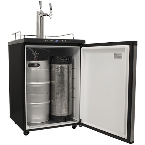 Edgestar Kc3000sstwin Full Size Dual Tap Kegerator With Digital Display Black And Stainless