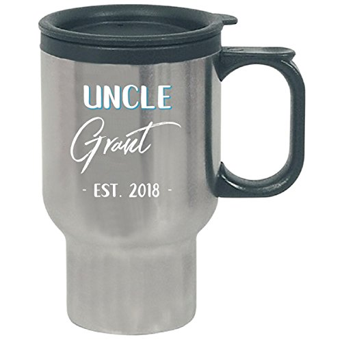 Uncle Grant Est. 2018 New Baby Gift Announcement - Travel Mug by My Family Tee (Image #1)