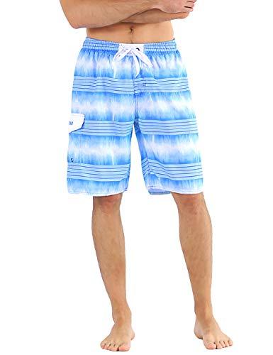 4f1e67bfab6ee Nonwe Men's Board Shorts Stripped Beach Vocation Drawstring Swimming Shorts  Blue 34