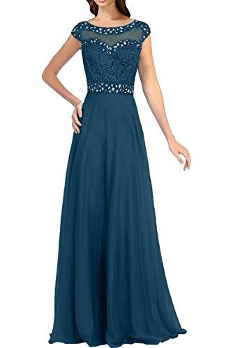 Gruen Blau Dunkel Jaeger Promkleider Traumhaft Abendkleider Damen Spitze Charmant Kurzarm Langes mit Ballkleider qpPCgEZw7x