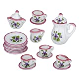 Dollhouse Miniature 17-Pc. Purple and Pink Tea Set