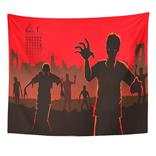 Tinmun Tapestry Red Zombie Walking Out from Abandoned City Silhouettes Wall Hanging for Living Room Bedroom Dorm 60x80 inches -