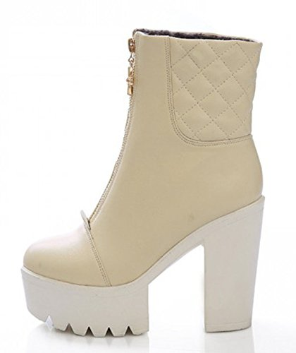 Aisun Womens Fashion Round Toe Front Zipper Dress Platform Stacked High Heels Ankle Boots Booties Shoes Apricot abDOG9jlO