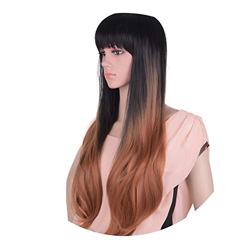 pursuit-of-self Women Gray Wig Synthetic Kanekalon Hair 60cm 280g Long Straight, brown 3,24inches]()