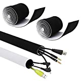 Kootek 236'' (2 X 118'') Cable Management Sleeves, Neoprene Cable Organizer Wrap Flexible Cord Cover Wire Hider Reversible Black & White, Cuttable by Yourself for TV Computer Office Theater
