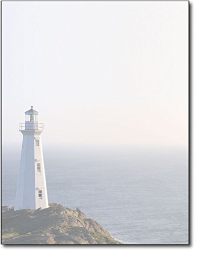 Ocean Blue Paper (Lighthouse Stationery Paper - 80 Sheets - Peaceful Scenic Letterhead for Messages, Flyers, or Invitations)