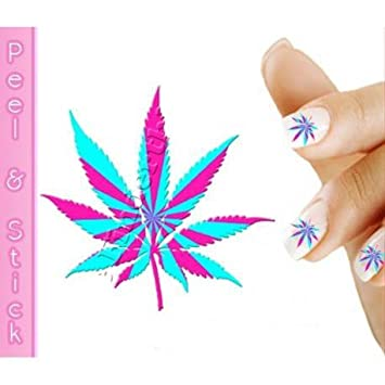 Amazon Pink And Blue Pot Leaf Weed Nail Art Decal Sticker Beauty