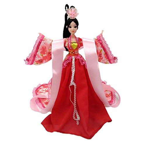 Traje antiguo chino Palacio de la diosa Concubina Muñecas de personas Vestir rojo