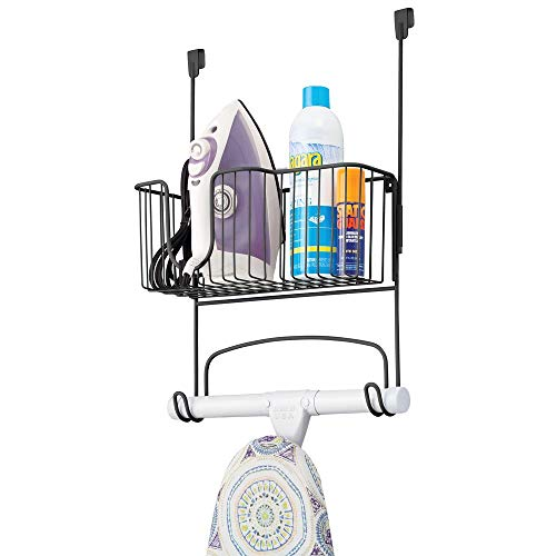 mDesign Metal Over Door Ironing Board Holder with Large Storage Basket - Holds Iron, Board, Spray Bottles, Starch, Fabric Refresher - for Laundry, Utility Room, Garage - Matte Black