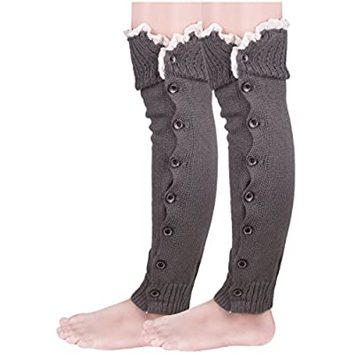 Cheap Knee High Leg Warmers for Women Knitted Boot Cuffs Topper With Button Lace Trim for sale
