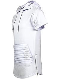 SCREENSHOTBRAND Mens Hip Hop Longline Premium Tee - Pullover Hooded Fashion T-shirt w/ Side Zipper