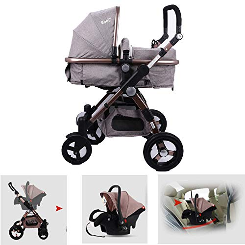 XIDAJIE 3 in 1 Baby Stroller High View Khaki Foldable Baby T