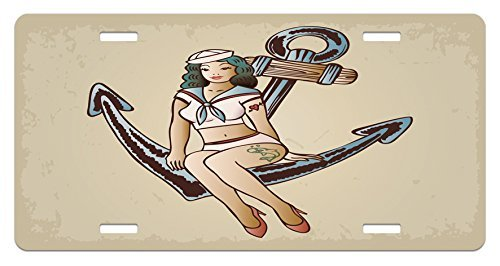 zaeshe3536658 Anchor License Plate, Pinup Girl with Sailor Outfit Shark and Heart Tattoo Vintage Twenties Illustration, High Gloss Aluminum Novelty Plate, 6 X 12 Inches. for $<!--$13.00-->
