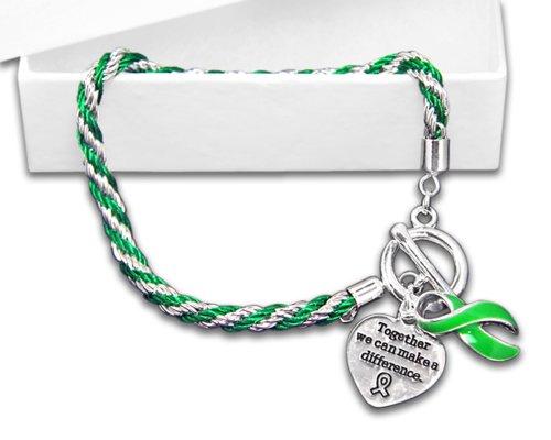 Green Ribbon Bracelet - Rope (Heart Health Awareness Bracelet)