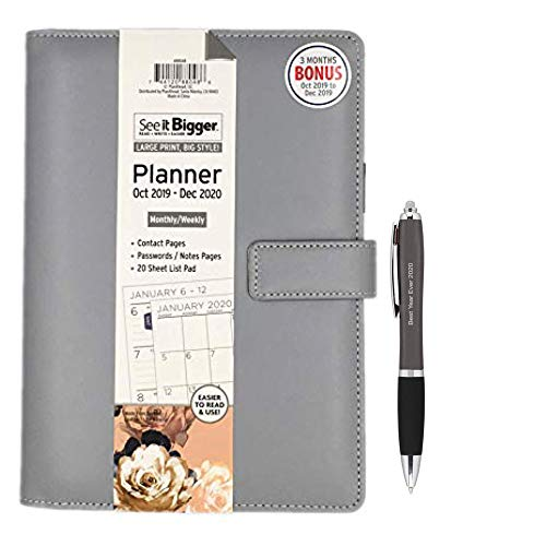 PlanAhead See IT Bigger Monthly/Weekly Medium Deluxe Planner/Organizer Oct 2019 - December 2020,Specialized Large Print, Size 6'' X 9'' and LED PenLight (Best Year Ever 2020) (Grey)
