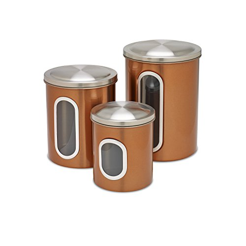 Brown Kitchen Canisters (Honey-Can-Do KCH-03011 3-Piece Metal Nested Canister Set, Copper)