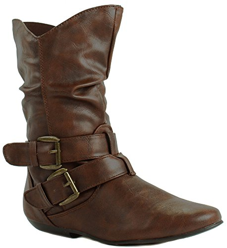 Leather Faux Forever Brown Straps Boots Buckle With Ankle Womens 32 Tamika qtSwSIf