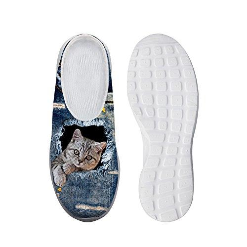 Showudesigns Outdoor Indoor Soft Slipper Women Home Sandals Gargen Clog Backless Blue Cat 3 9eldiadxH