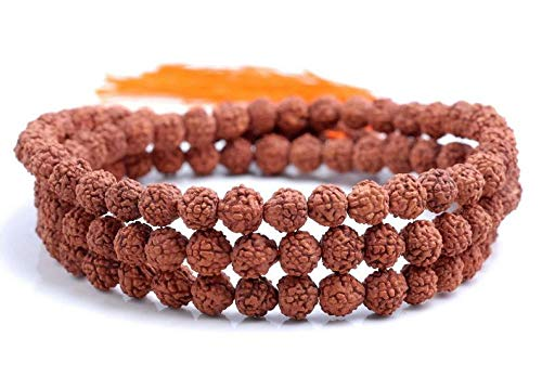 6mm Natural Rudraksha Bodhi Seed Brown Gemstone Rare Mala Prayer Round Loose Beads 24 inch 108 Beads, Beading, Jewelry Making, DIY Crafting, Arts & Sewing by Beads