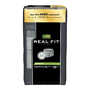 Depend Real Fit Incontinence Briefs for Men, Maximum Absorbency, L/XL, 52 Count