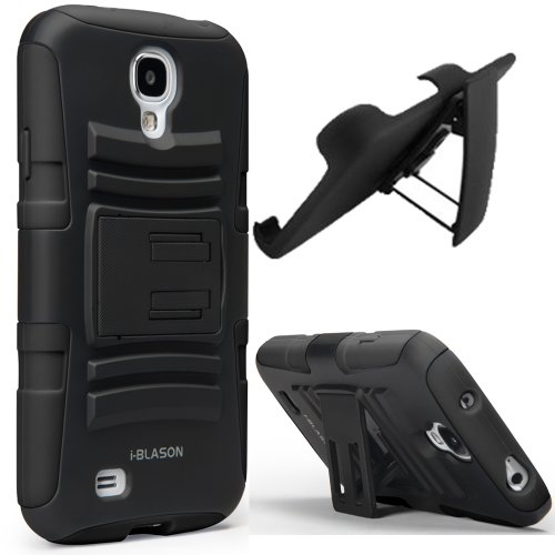 i-Blason Samsung Galaxy S4 Active (i9295 Water Resistant Version) Prime Series Dual Layer Holster Case with Kickstand and Locking Belt Swivel Clip (Black) (Samsung Cases Active Galaxy S4)