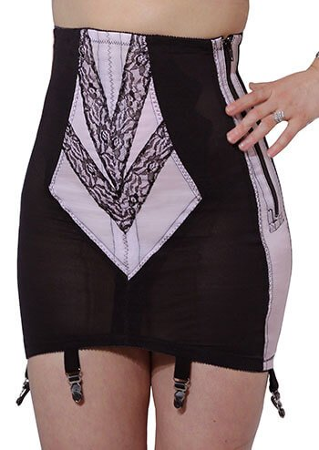 Rago Women's Plus-Size High Waist Open Bottom Girdle with Zipper, White, 8X-Large (46)