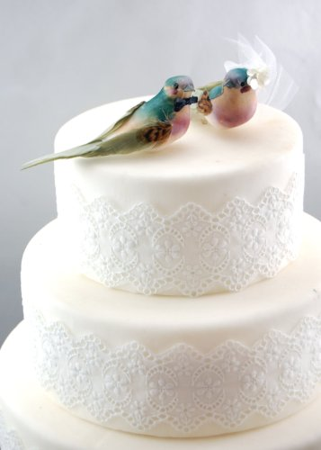 Charming Love Bird Cake Topper: ''Bride and Groom'' Wedding Cake Topper in Teal Green and Orchid Purple by Becky Kazana (Image #4)