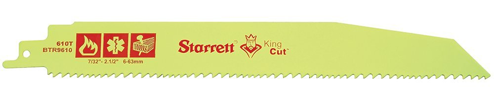 Starrett BTR9610-50 Bi-Metal Tapered King Cut Fire, Rescue and Demolition Reciprocating Blade, 0.063'' Thick, 6/10 TPI, 9'' Length x 1'' Width (Pack of 50)
