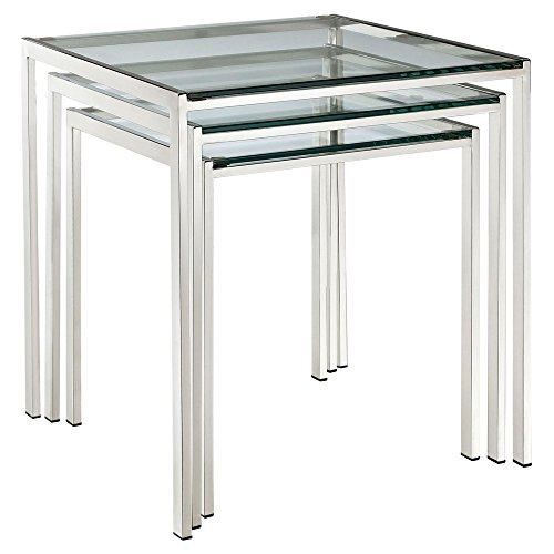 Modway Nimble 3 Piece Glass Top Nesting Table Set in Silver by Modway