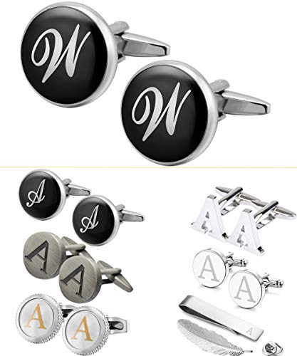 - GGemony Cufflinks for Men Classic Engraved Initial Cufflinks Alphabet Letter Cufflinks Formal Business Wedding Shirts W-Black/