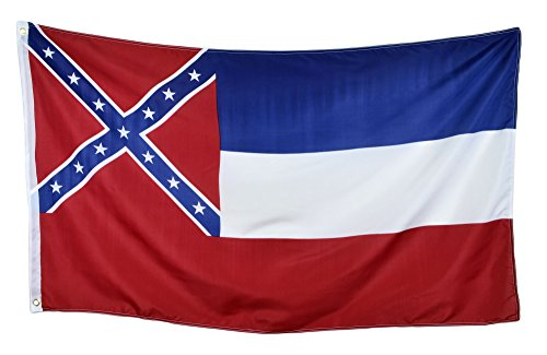 Shop72 US Mississippi State Flags - Mississippi Flag - 3x5' Flag from Sturdy 100D Polyester - Canvas Header Brass Grommets Double Stitched from Wind S