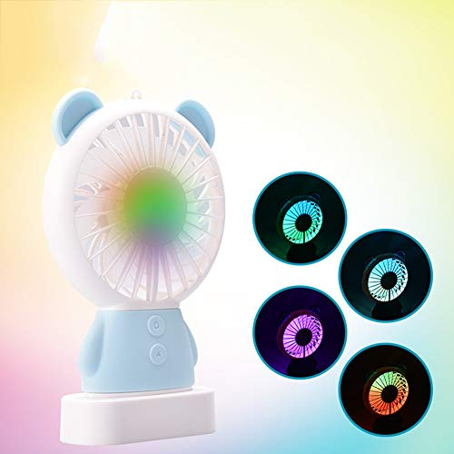 YXTHON Mini Handheld Fan - Adorable & Cute USB Rechargeable Fan, with Multi-Color LED Light, 2 Adjustable Speeds, Perfect for Indoor or Outdoor Activities (Sky Blue Bear)