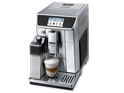 Delonghi Prima Donna Elite Super Automatic Espresso Machine with Double Boiler, Milk Frother, Chocolate Maker, Mobile App and 4.3' Color Display, Stainless Steel, ECAM65075
