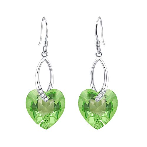 EleQueen 925 Sterling Silver CZ Love Heart French Hook Dangle Earrings Light Green Made with Swarovski ()