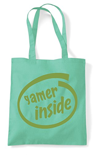 Mint Gamer Shopper Inside Tote Gaming Statement Parody Bag 40vq4