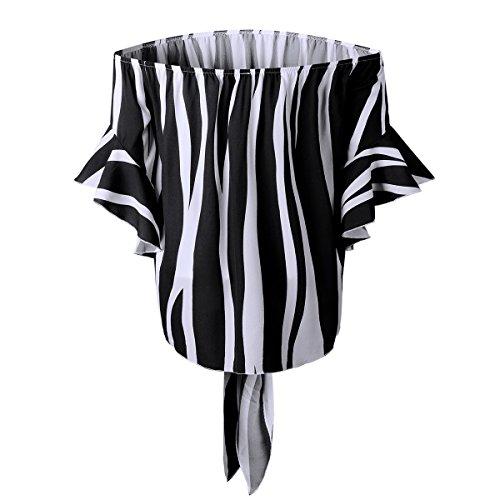 Black en Manches T Demi Dnudes Femme Papillons avec uds Shirt Ray De N T Mousseline Blouse L'paule Soie Shirt Femmes Manches Flare B0x1nf1
