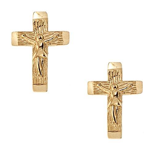 Crucifix Post (14K Yellow Gold Mini Cross Crucifix Stud Earrings Post)